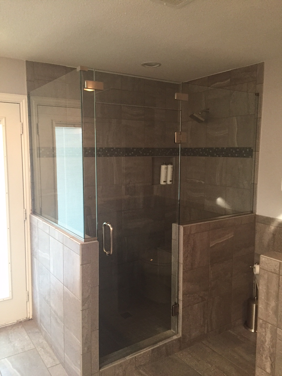 Frameless Shower With Half Top Glass Dfw Bath And Glass