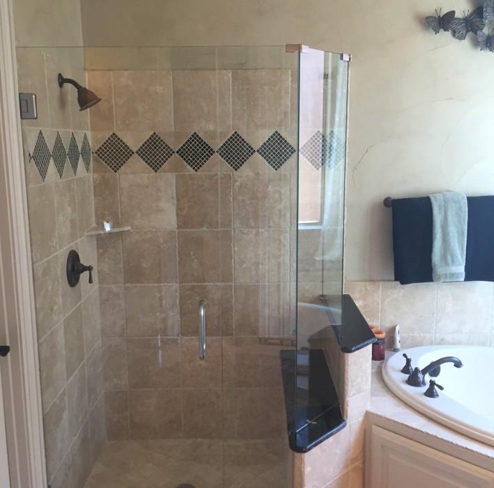 Seamless Shower with Brush Nickel Frameless glass