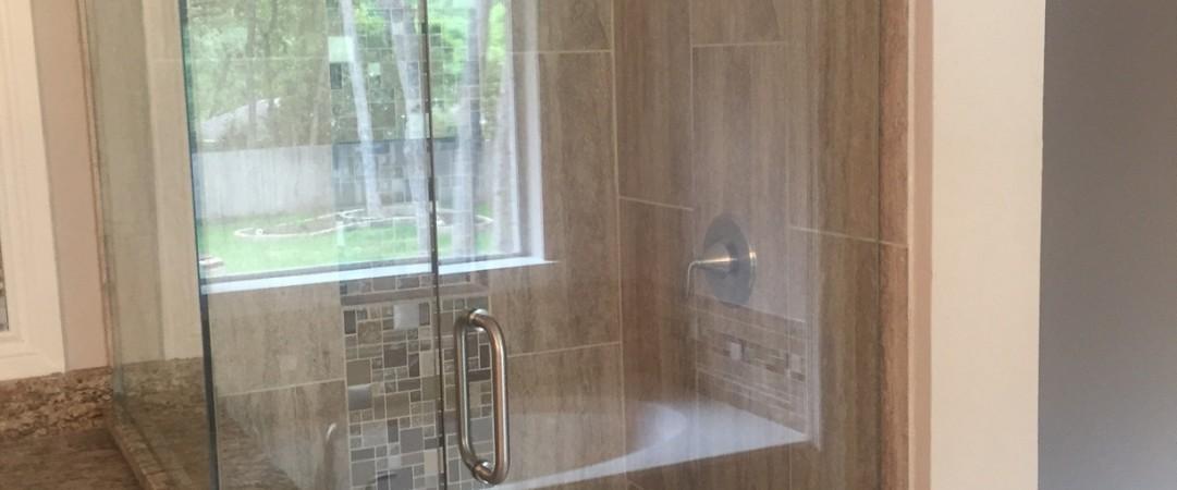 Brown Corner Frameless Shower
