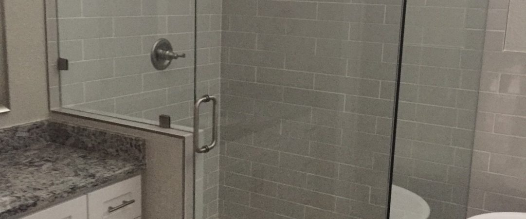 Elegant Frameless Shower, pebble Floors