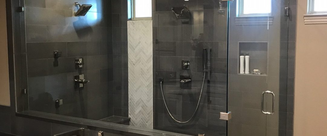 Dark shower tile Frameless